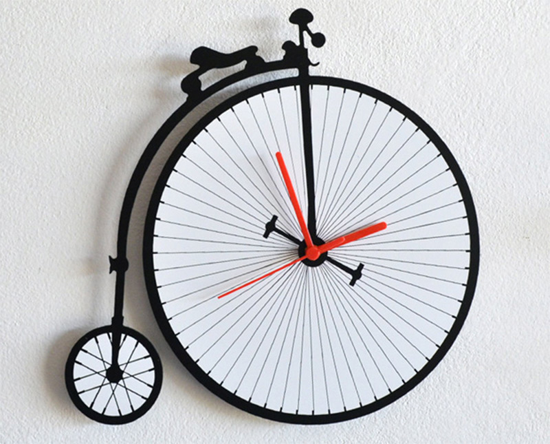 cute penny farthing antique bicycle wall clock