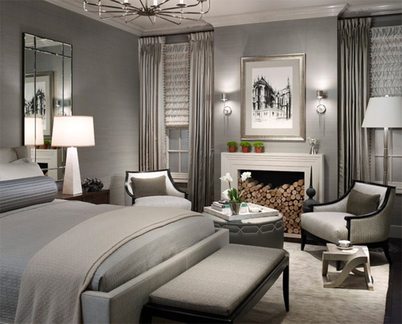 open bedroom interior contemporary design grey pinwheel table