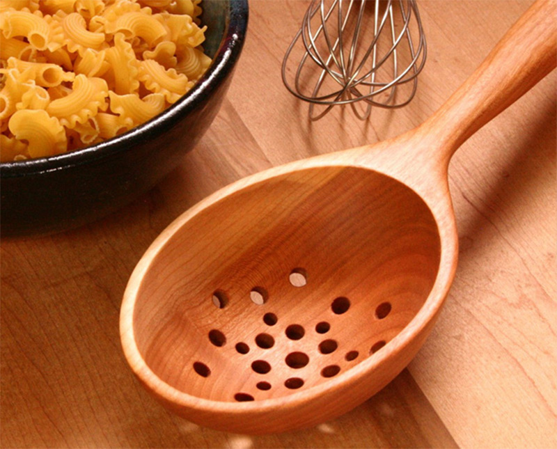 etsy custom wooden colander spoon holes cooking