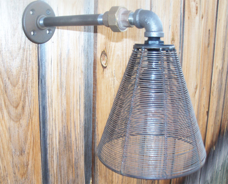 metal iron pipe wall sconce light