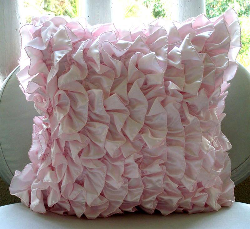 pink throw pillows covers satin soft
