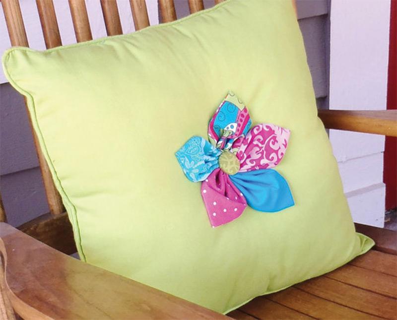 blossom flower green blue button throw pillow