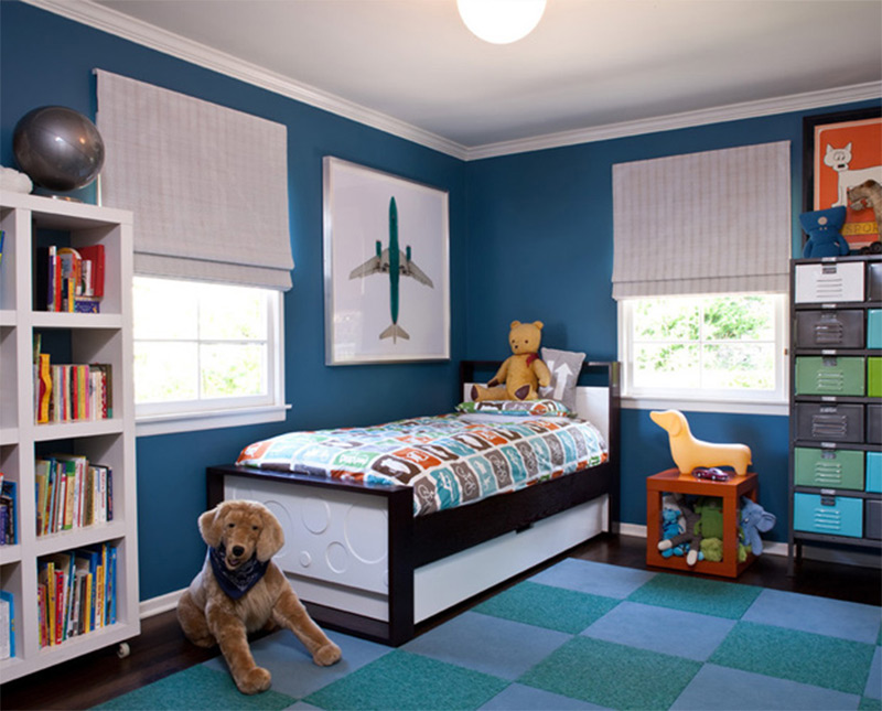 checkered pattern carpet boys room creative