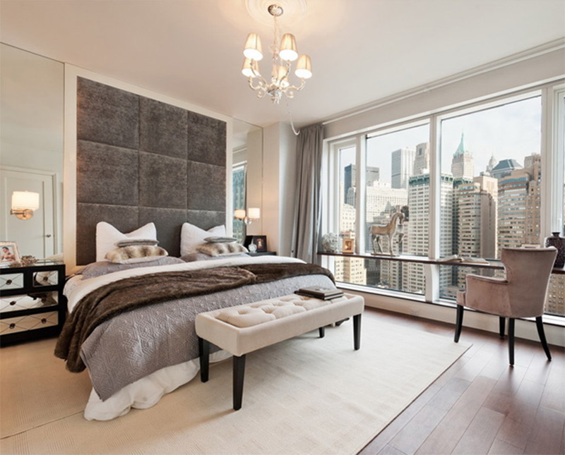 new york city bedroom full windows view cityscape interior