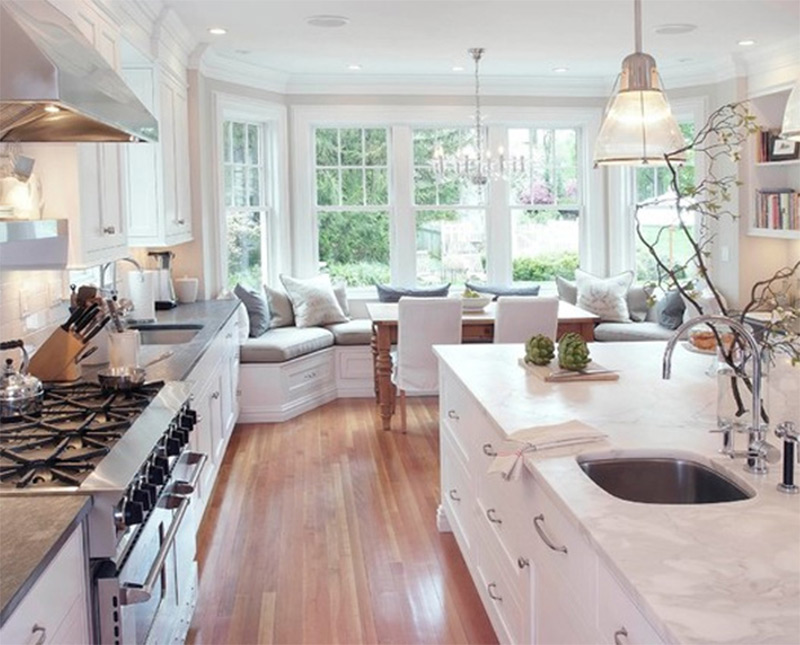 classical white kitchen marble countertops