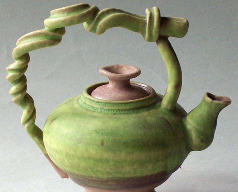 miniature teapot photo curly green vines