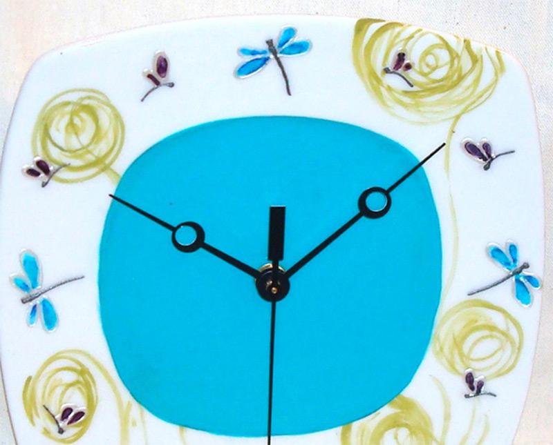 etsy wall clock swirls dragonflies artwork paint