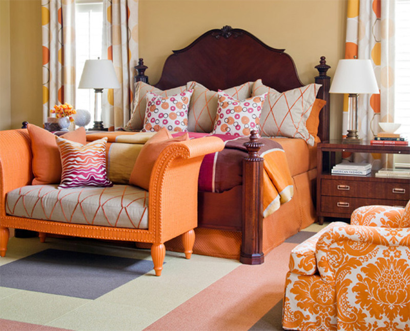 clear creek eclectic orange shapes bedroom couch