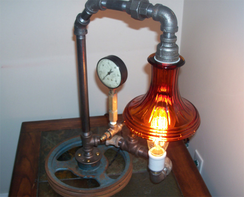 repurposed plumbing pipe lamp etsy