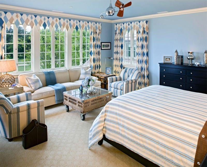traditional bedroom white blue sofa chairs interior