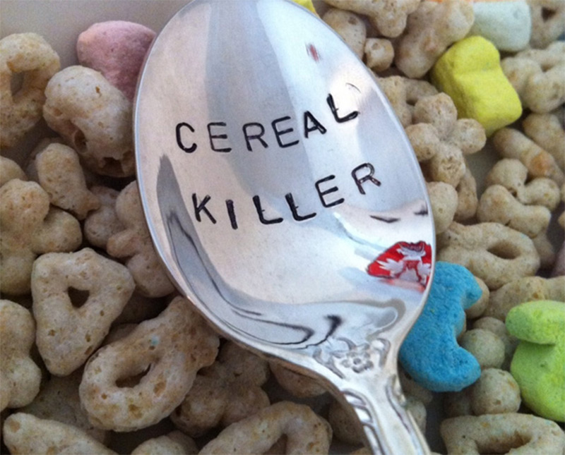 silver spoon engraved cereal killer eating
