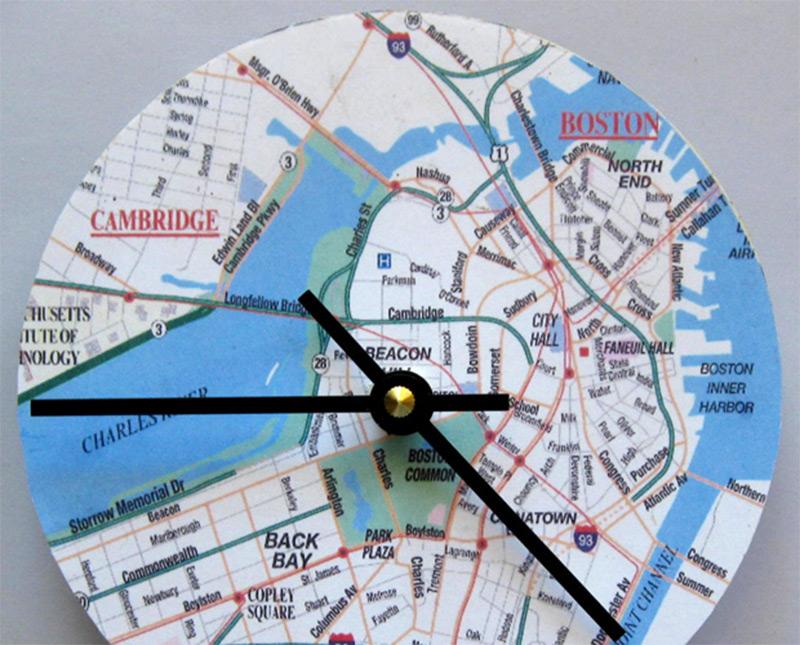 custom wall clock using map boston massachusetts