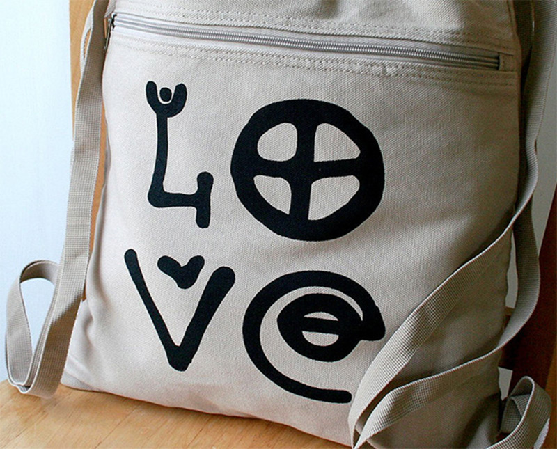love peace letters print canvas backpack