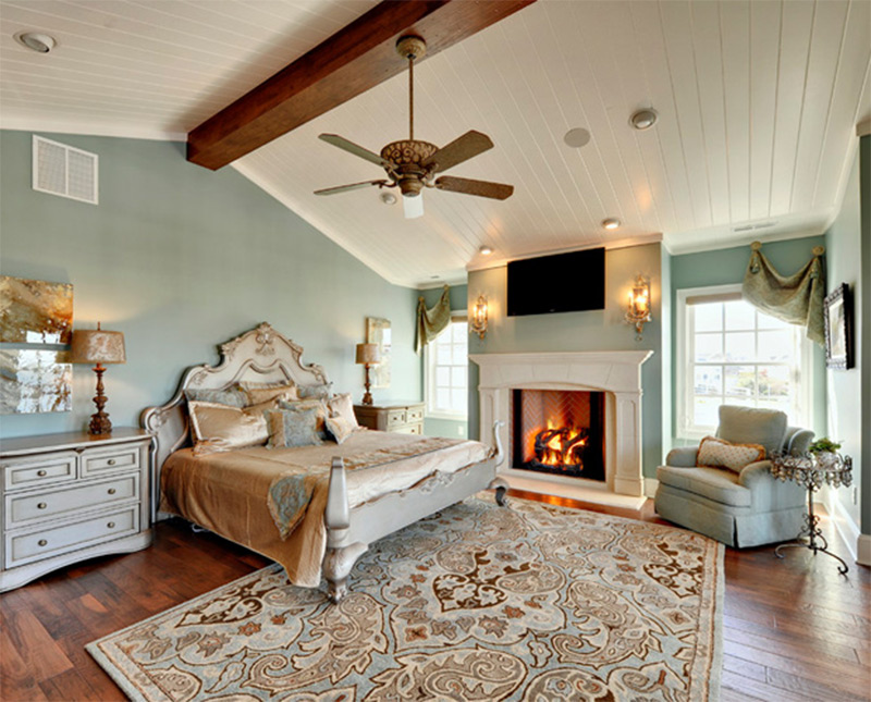 green bright fancy philadelphia bedroom interior fireplace