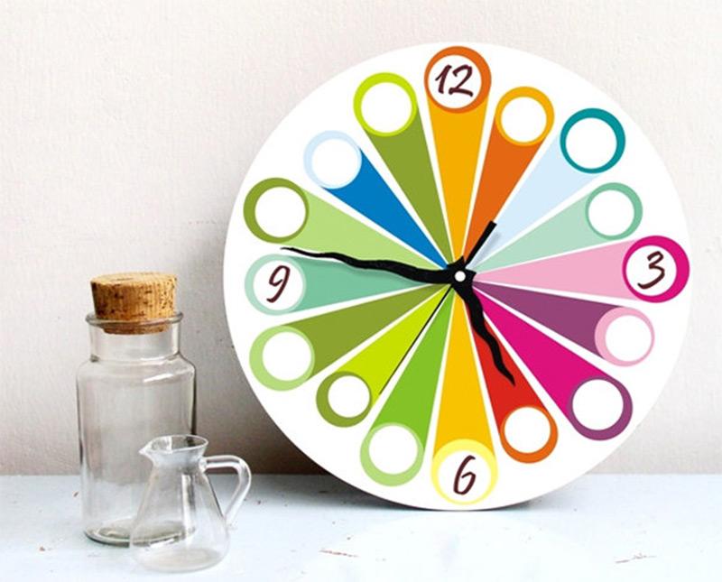 colorful rainbow wall clock kids room