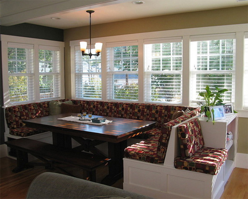 wood table cushion seating breakfast interior