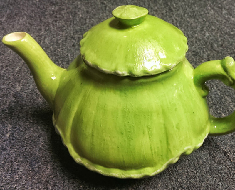 etsy apple green white accents teapot design