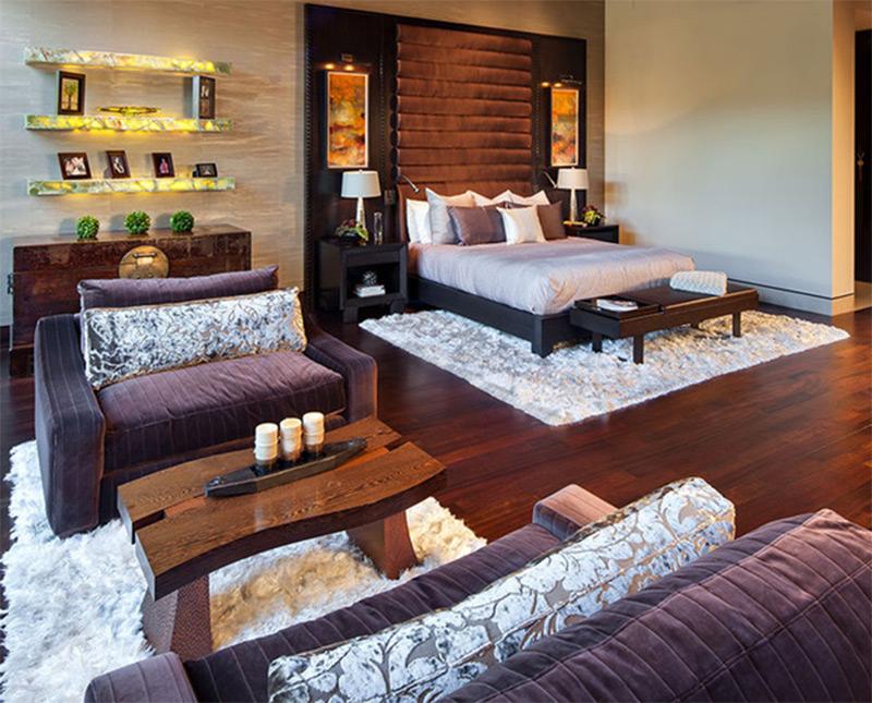high ceilings bedroom interior las vegas purple sofas