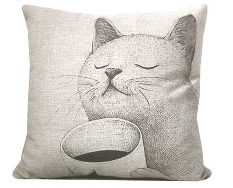 cute cat coffee cartoon artwork pillow