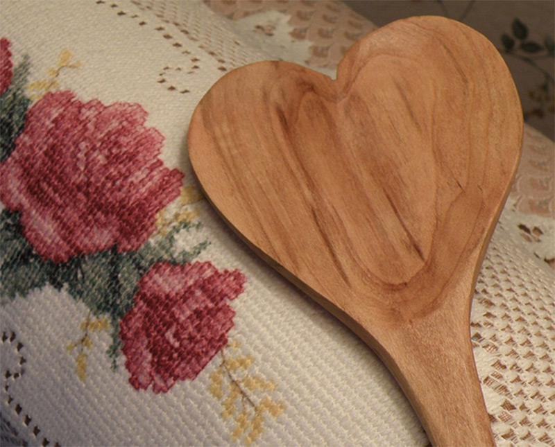 cherry wood cooking spoon shaped heart