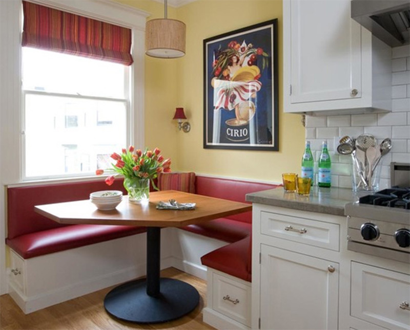 red corner banquette kitchen table interior