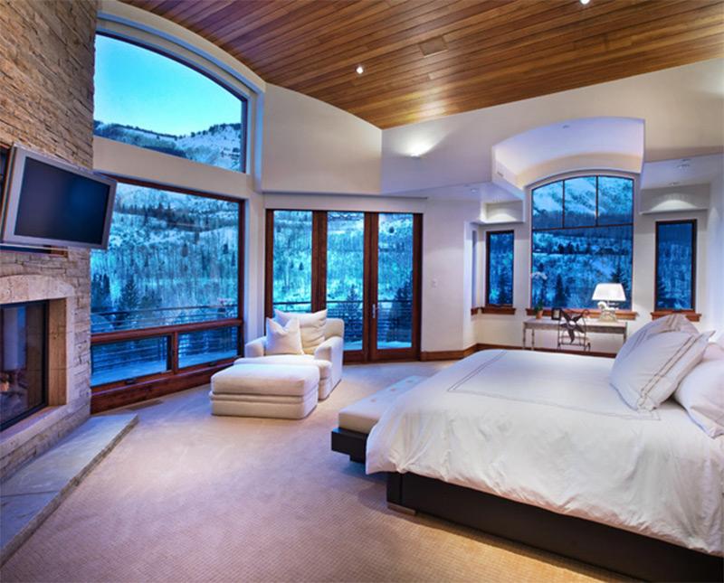 custom ranch house interior bedroom sofa snowy big windows