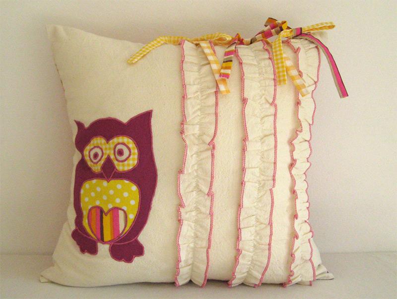 purple yellow accent throw pillow cushion