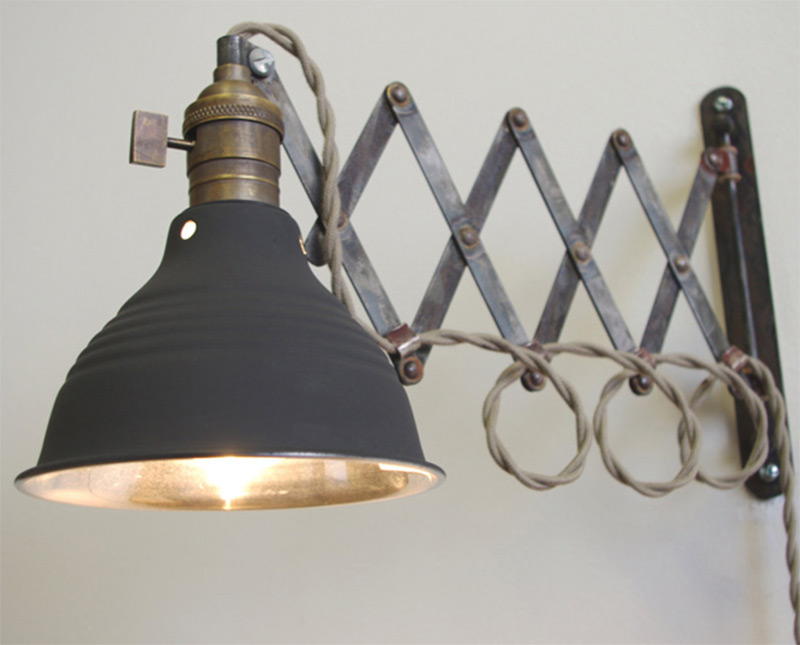 scissor articulating wall lamp extension vintage