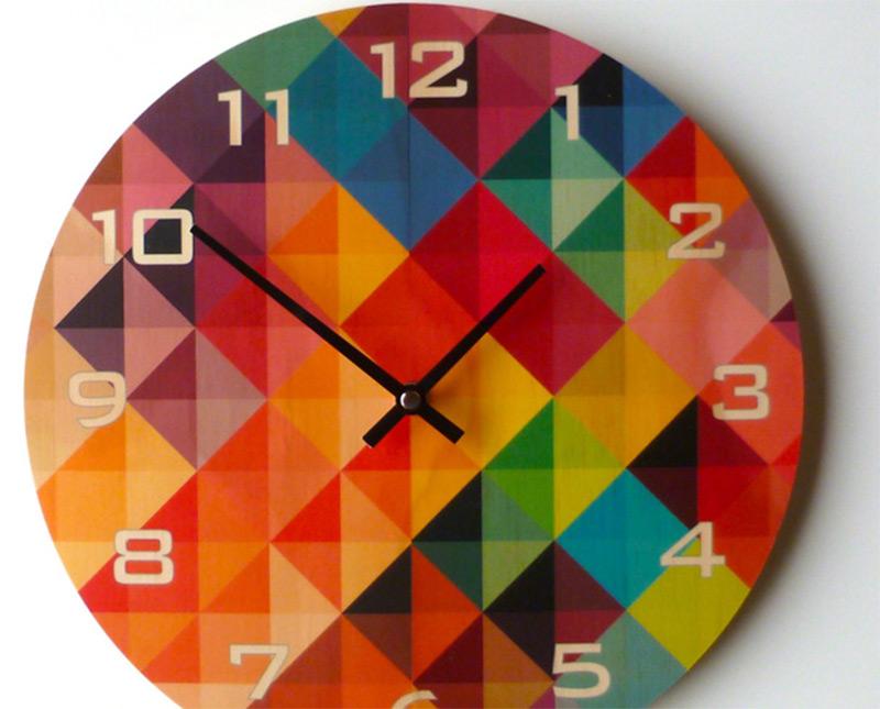 colorful grid plywood custom handmade wall clock