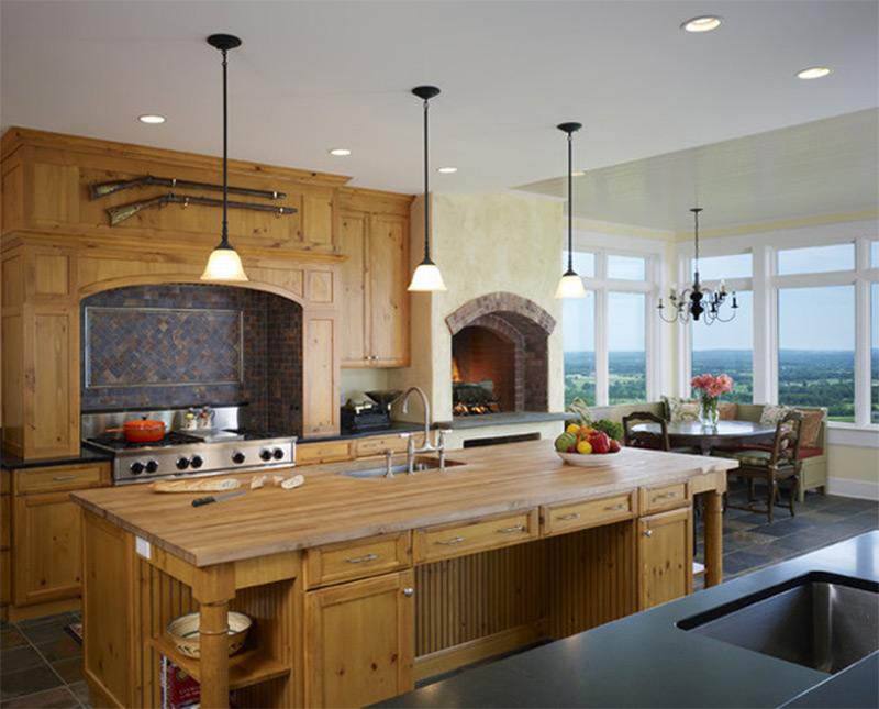 wooden table counters farmhouse interior kitchen