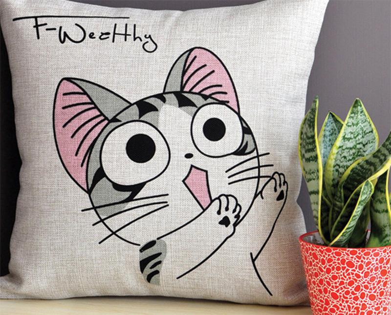 cute cat eyes pillow artwork etsy