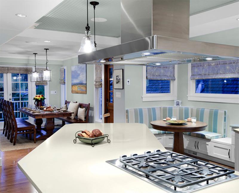 modern white kitchen breakfast corner nook interior