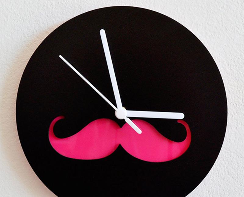 pink mustache silhouette wall clock