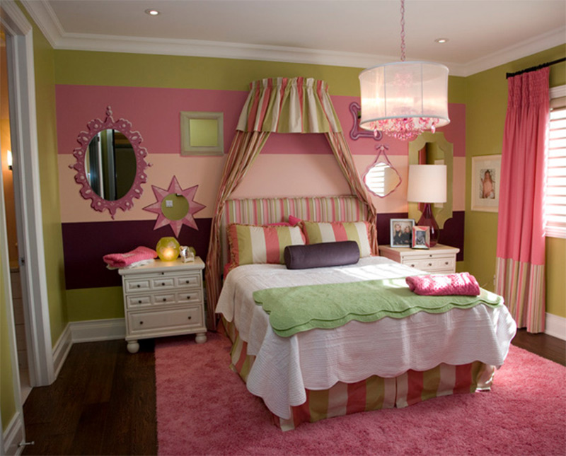pink green white soft colors bedroom interior