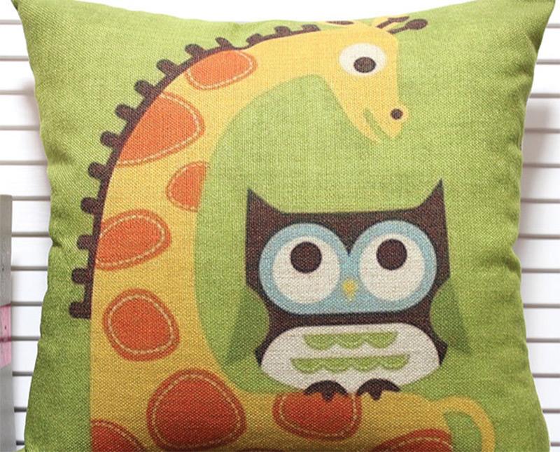 giraffe owl green pillow artwork etsy