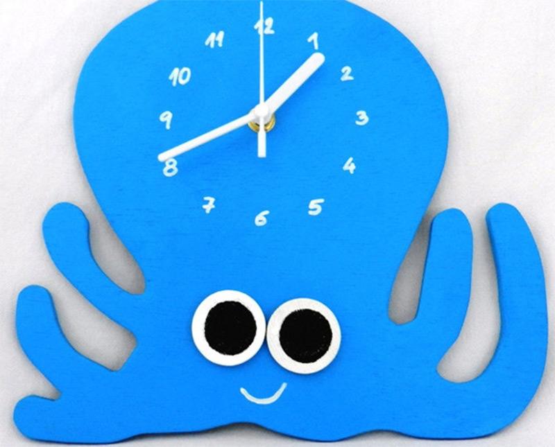 blue octopus wall clock kids room