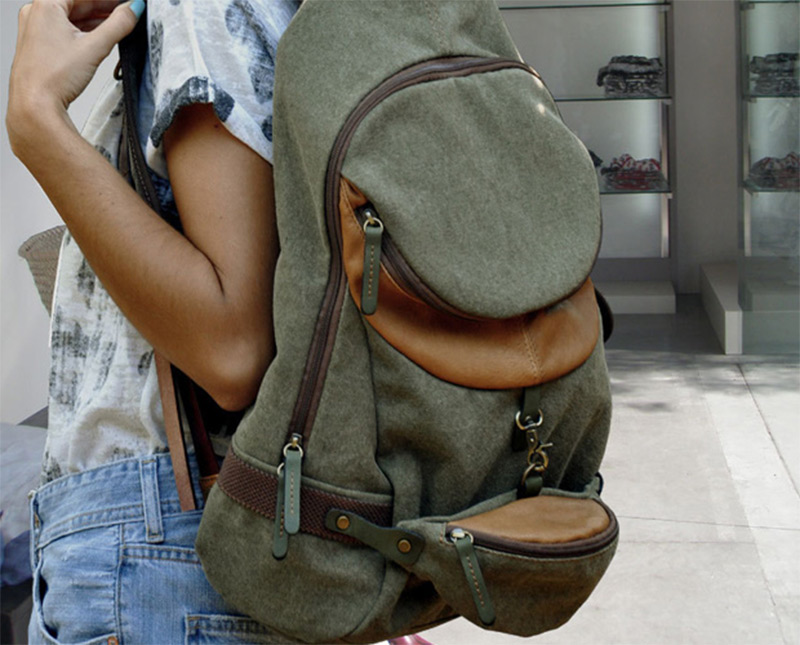 military green italian canvas backpack