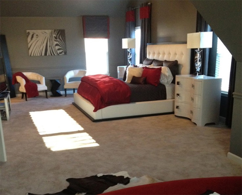 red white grey comfy bedroom atlanta georgia interior