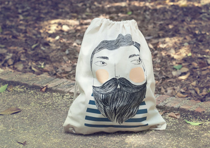 tote bag canvas backpack bearded illustration