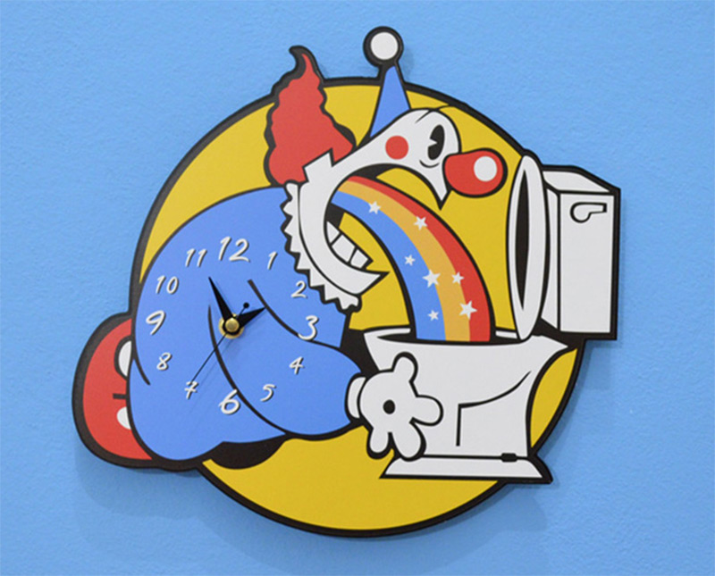 clown toilet throwing up rainbow wall clock