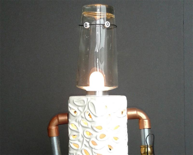 vintage steampunk robot lamp interior