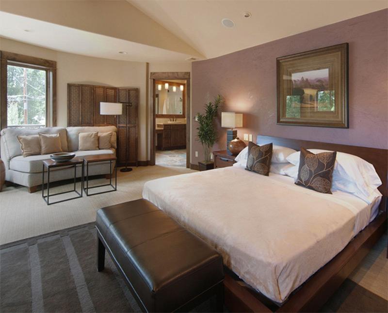 simple minimalist bedroom interior sofa white sheets