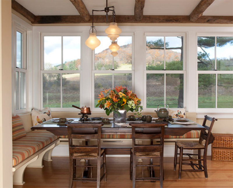 traditional wood kitchen dining table interior