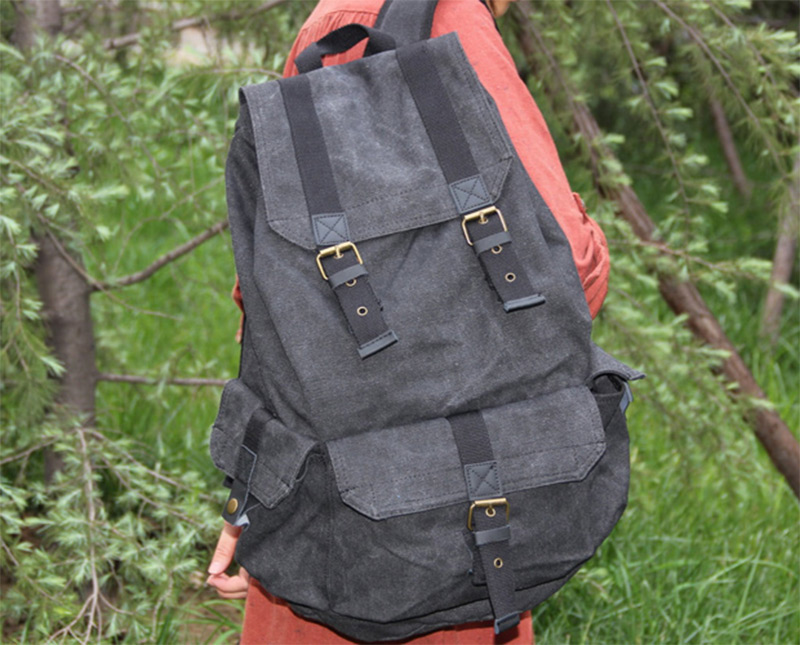 canvas grey leather backpack straps