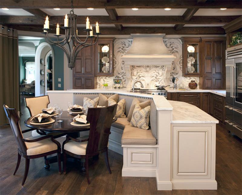 dark wooden tables floors dining area interior