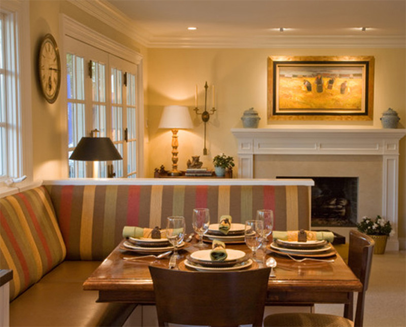 open dining area table eating fireplace