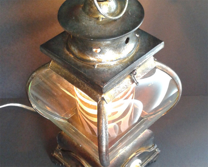 curved brass lantern lamp glass