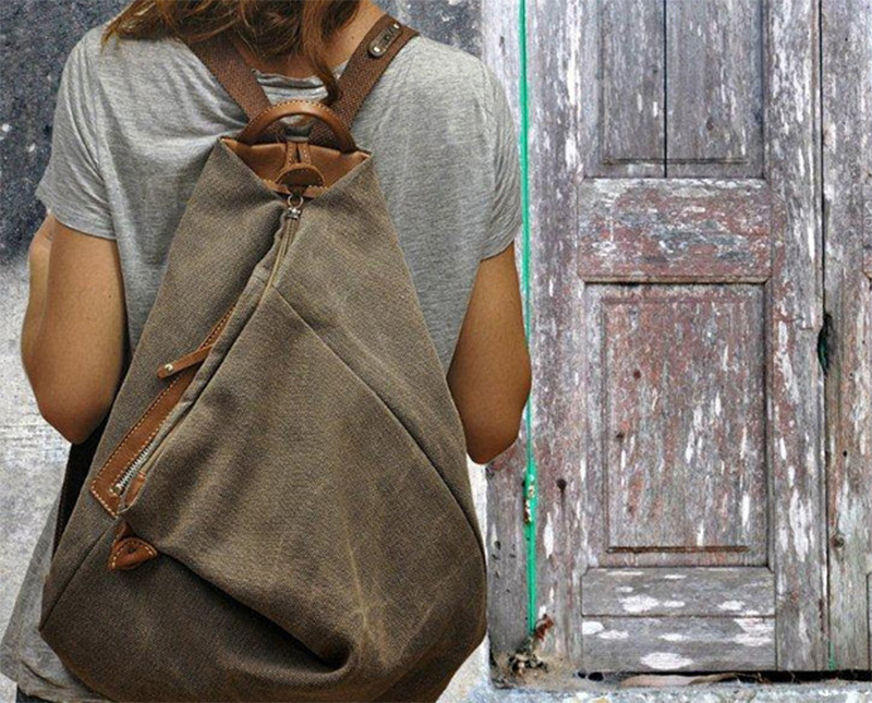 terra brown leather canvas backpack light custom