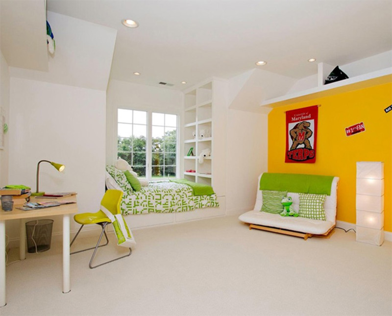white empty space clean walls kids bedroom design