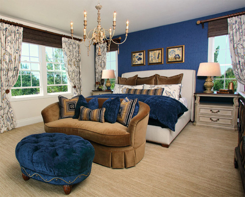 royal blue master bedroom interior luxury sofa ottoman